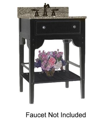 "Kaco Dover Collection 340-2400-B 24"" Single Sink Vanity with Bottom Shelf, Faux Drawer Front and Distressed Black Sherwin Williams Finish with X Top"