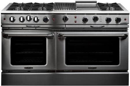 "Capital CGSR604BG2N 60"" Culinarian Series Gas Freestanding Range with Open Burner Cooktop, 4.6 cu. ft. Primary Oven Capacity, in Stainless Steel"