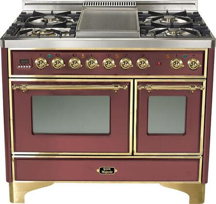 Ilve UMD1006MPRB Majestic Series Dual Fuel Freestanding Range with Sealed Burner Cooktop, 2.44 cu. ft. Primary Oven Capacity, Warming in Burgundy