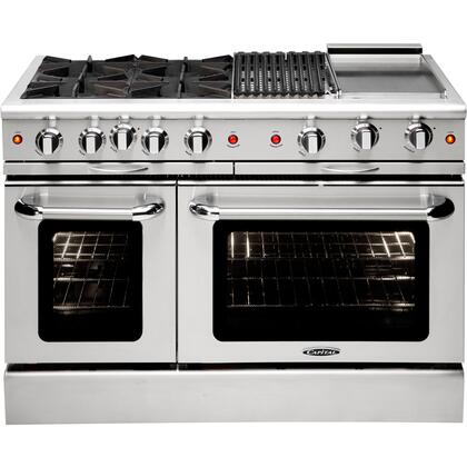 """Capital Culinarian Series MCOR 48"""" X Range with 2 Open Burners, 4.9 Cu. Ft. Capacity, Seconardy 2.7 Cu. Ft. Oven Cavity, 12"""" Broil Burner, 24"""" Thermo Griddle, EZ-Glides, and Back Trim, in Stainless Steel"""