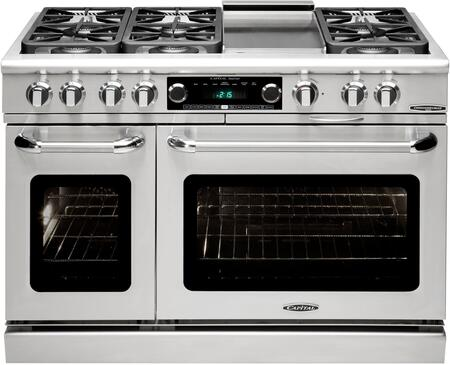 """Capital CSB484G2N 48"""" Connoisseurian Series Dual Fuel Freestanding Range with Sealed Burner Cooktop, 4.6 cu. ft. Primary Oven Capacity, in Stainless Steel"""