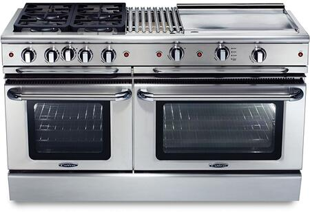 """Capital Precision Series GSCR604BG-X 60"""" Freestanding X Range with 4 Sealed Burners, 4.6 Cu. Ft. Capacity, Secondary 3.1 Cu. Ft. Oven Cavity, and Electronic Ignition, in Stainless Steel"""