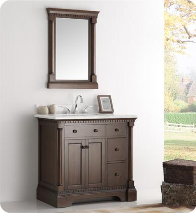 "Fresca Kingston Collection FVN2236 36"" Traditional Bathroom Vanity with Mirror, Carrera Marble Countertop, 4 Soft Close Dovetail Drawers and Ceramic Undermount Sink in"
