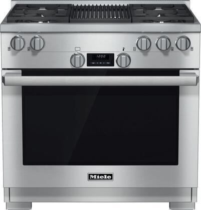 """Miele HR1135GR 36"""" Pro-Style Gas Range with 5.8 cu. ft. Twin Convection Fan Oven, 4 Sealed M Pro Dual Stacked Burners, TrueSimmer Burners, Self-Cleaning, M Pro Grill,and 5 Operating Modes in Stainless Steel"""