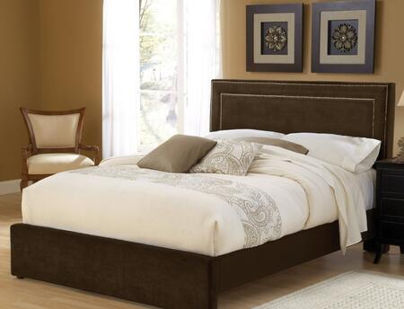 Hillsdale Furniture 1554B Amber Panel Bed with Square Headboard, Nail Head Trim, Pine Wood Construction and Fabric Upholstery in Chocolate Color