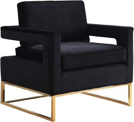 "Meridian Noah Collection 511X 19"" Accent Chair with Velvet Upholstery, Track Arms and Gold Stainless Steel Base in"