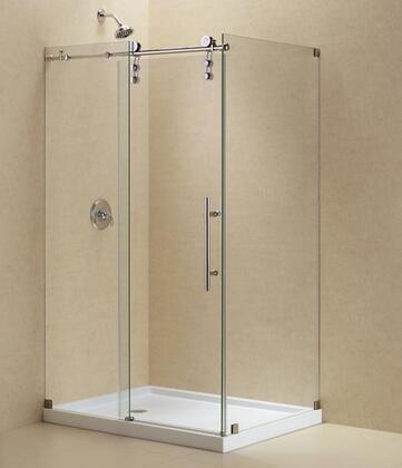 """DreamLine SHEN-62 Enigma-Z Fully Frameless Sliding Shower Enclosure, Clear 3/8"""" Glass Shower"""