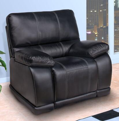 "New Classic Home Furnishings 23821MBK Electra 42.5"" Glider Recliner with Bonded Leather Match, Hardwood Frames, Sinuous Spring ""No Sag"" Deck Support, Memory Foam Topper and Polyester Fiber Fill Backs, in Black"