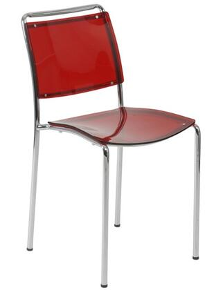 Euro Style 81009RED Stefie Series Contemporary  Dining Room Chair