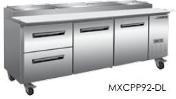 Maxx Cold MXCPP92-Dx  Undercounter Refrigerator and Pizza Preparation WorkTop with 32 cu. ft. Capacity, 4 Casters, Self Contained, Automatic Defrost, Forced Air Refrigeration and Efficient Cooling System, in Stainless Steel