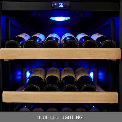 """KingsBottle KBU- 24"""" 2 Temperature Zones Wine Cooler with x Bottle, Warp Resistant Beech Wood Shelves and Door Lock: Glass Door in Black"""