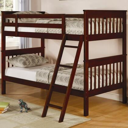 Coaster Parker Collection Twin Over Twin Bunk Bed with Guard Rails, Ladder and Solid Pine Wood Construction in