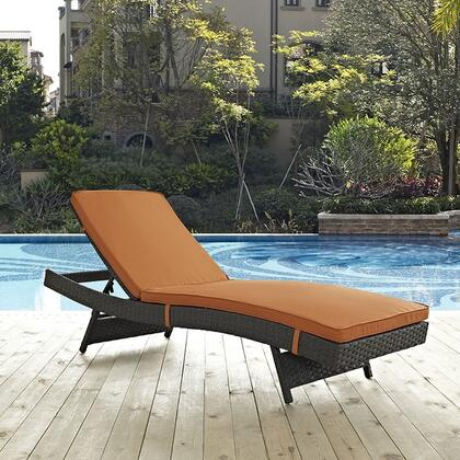 "Modway Sojourn Collection EEI1985CHC 78"" Outdoor Patio Sunbrella Chaise with Adjustable Recline, Powder Coated Aluminum Frame, Water and UV Resistant in"
