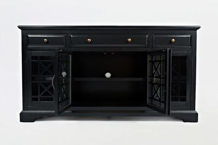 """Jofran Craftsman Collection X75-60 60"""" Media Unit with Four Glass Doors, Three Drawers, Adjustable Shelves, and Wire Management in XX"""