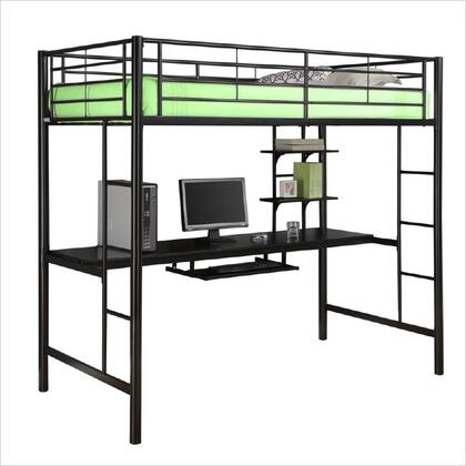 Walker Edison BTOZBL Sunset Series  Twin Size Loft Bed