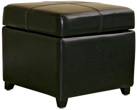 Wholesale Interiors 0380023BLACK Wholesale Interiors Series Contemporary Leather Ottoman