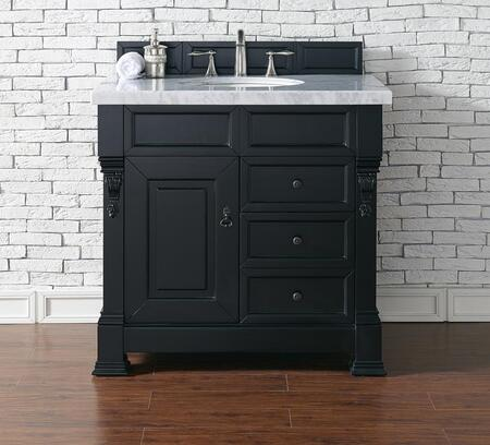 """James Martin Brookfield Collection 147-114-5536 36"""" Antique Black Single Vanity with Single Soft Closing Door, Three Soft Closing Drawers, Backsplash, Hand Carved Filigrees and"""