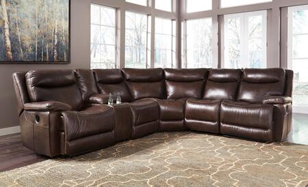 Milo Italia Jaden Collection MI-8560-6PCSEC-BRN Sectional Sofa with Left Arm Facing Zero Wall Recliner, Console with Storage, Armless Recliner, Wedge, Armless Chair and Right Arm Facing Zero Wall Recliner in Antique Color