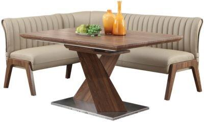 """Chintaly BETHANYXPC BETHANY COLLECTION Dining Room Set - Walnut Dining Table with """"X"""" Shape Pedestal and"""