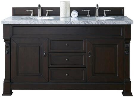 "James Martin Brookfield Collection 147-114-5661- 60"" Burnished Mahogany Double Vanity with Two Soft Closing Doors, Three Soft Closing Drawers, Backsplash, Hand Carved Filigrees and"