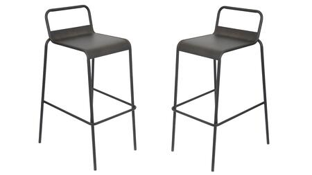 """LumiSource Victor BS-TW-VIC Set of (2) 36"""" Stackable Barstool with Stretcher, Galvanized Steel Construction and Footrest in"""