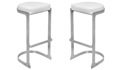 "LumiSource Demi BS-DEMI Set of (2) 31"" Barstool with PU Leather Upholstery, Chrome Steel Base and Footrest in"