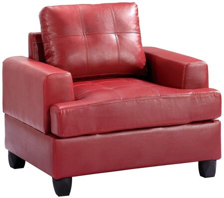 Glory Furniture G589AC Bycast Leather Armchair in Red