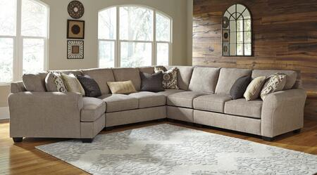 Benchcraft Pantomine 39102CDALWACL 5-Piece Sectional Sofa with X Arm Facing Cuddler, Armless Loveseat, Wedge, Armless Chair and X Arm Facing Loveseat in Driftwood Color