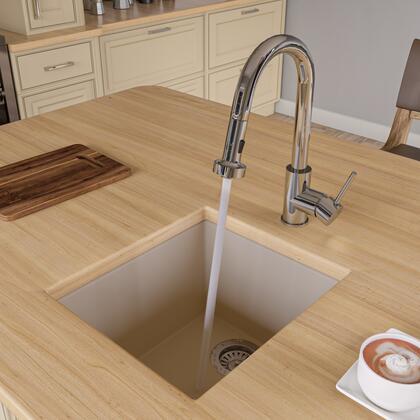 """Alfi AB1720UM-XX 17"""" Rectangular Kitchen Prep Sink with Granite Composite and Under Mount Installation Hardware in"""