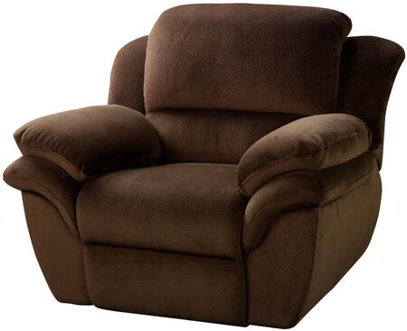 "New Classic Home Furnishings 2-897-15-PCH Pebble Beach 45"" Recliner with Recline Mechanism, Polyester Velvet Touch Fabric, Sinuous Spring ""No Sag"" Deck Support and Memory Foam Topper, in Chocolate"