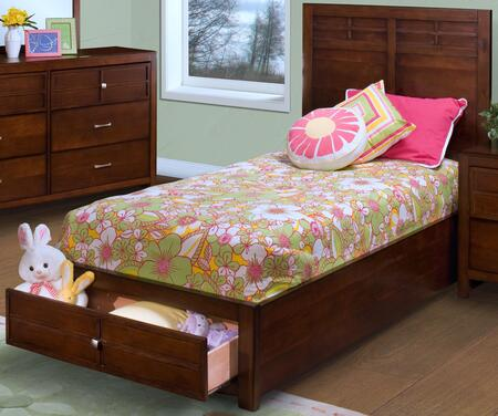 New Classic Home Furnishings 05-060-B Kensington Storage Bed with Detailed Molding, Simple Pulls, Storage Drawers, and Contemporary Design, in Burnished Cherry