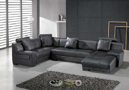 VIG Furniture VGEV3334B  Sofa and Chaise Leather Match Sofa