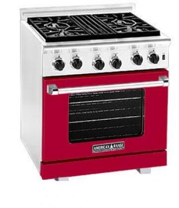 American Range ARR304LBR Heritage Classic Series Red Liquid Propane Freestanding Range with Sealed Burner Cooktop, 4.8 cu. ft. Primary Oven Capacity,