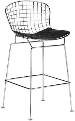 """EdgeMod Morph Collection 41"""" Counter Stool with Plastic Non-Marking Feet, Velcro Strips, Solid Chrome Steel Frame and Leatherette Seat in"""