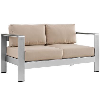 Modway EEI2267SLVBEI Modern Patio Love Seat