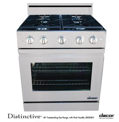 """Dacor Distinctive DR30GFS 30"""" Freestanding Gas-XX Range With 4 Burners, 4.8 Cu. Ft. Convection Oven, Continuous Grates, 2 Oven Racks, 120 Volts, 15 Amps, In Stainless Steel"""