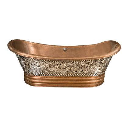 "68"" Copper Double Slipper Tub w/ Mosaic"