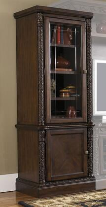 Millennium North Shore W553-3X Pier Cabinet with Lighting on Top, Tempered Glass Door, Adjustable Shelves and Decorative Pilasters in Dark Brown Finish