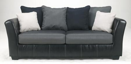 Benchcraft 1420X38 Masoli Two-Toned Sofa with Track Arms, Faux Leather Upholstery and Plush Supportive Seat Cushions in