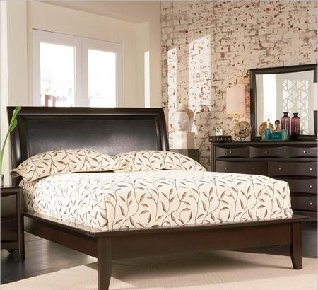 Coaster 200410 Phoenix Upholstered Platform Bed in Cappuccino Finish