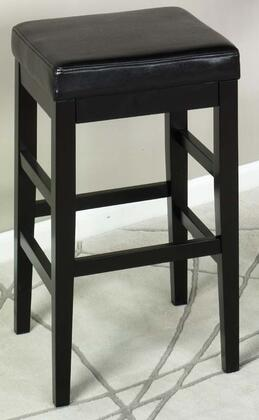 Armen Living LCSTBABLBLX Sonata Stationary Bar stool with Ebony Finished Legs and Leather Upholstery in Black