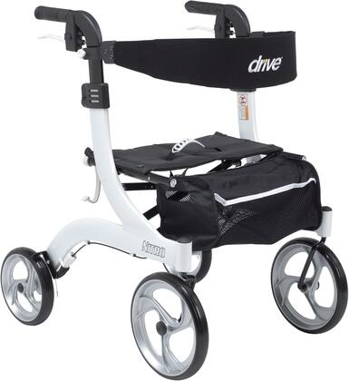 "Drive Medical RTL10266HH Nitro Aluminum Rollator Hemi Height with 28""-31"" Adjustable Handle Height, For 5'2"" and Below Users, Large 10"" Front Casters and Lightweight Aluminum Frame"