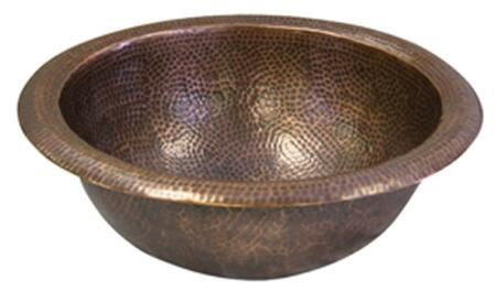 Medium Round Self Rimming Basin: Hammered Antique Copper Finish Regular View