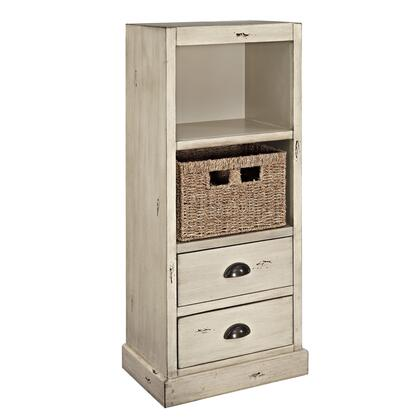 "Powell Currituck Collection 17"" 15A206XSM with Metal Cup Pulls, Two Drawers, Shelf and Basket in"