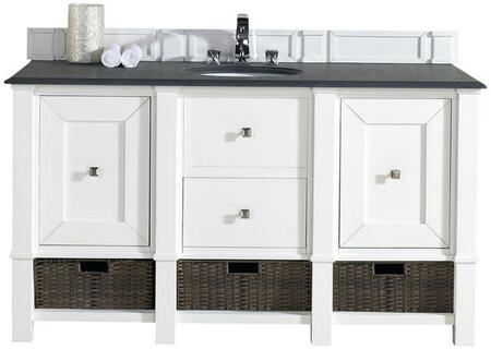 "James Martin Madison Collection 800-V60S-CWH- 60"" Cottage White Single Vanity with Two Soft Close Doors, One Drawer, Bottom Shelf, Satin Nickel Hardware and"