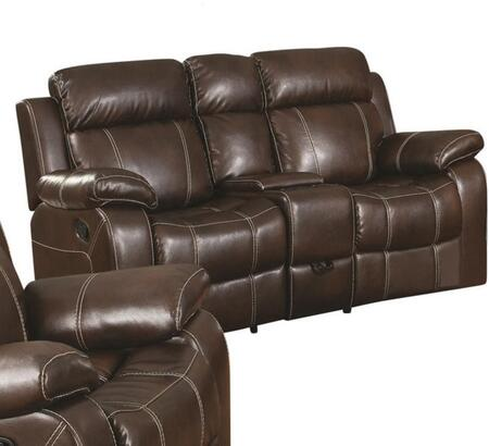 Coaster 603022 Myleene Series Bonded Leather Reclining with Wood Frame Loveseat