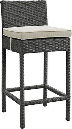 "Modway Sojourn Collection EEI-1957-CHC- 21"" Outdoor Patio Wicker Sunbrella Bar Stool with All-Weather Fabric Cushion, Synthetic Rattan Weave Material, Aluminum Frame, UV and Water Resistant in"