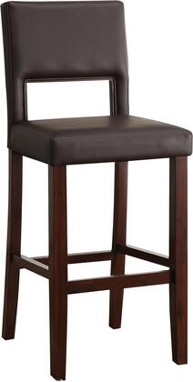 "Acme Furniture Reiko Collection 30"" Bar Chair with Cut-Out Back, Wooden Trim, Espresso Solid Wood Construction and Bycast PU Leather Upholstery in"