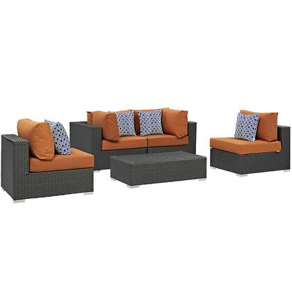 Modway Sojourn Collection EEI-2378-CHC- 5-Piece Outdoor Patio Sunbrella Sectional Set with Coffee Table, 2 Armless Chairs and 2 Corner Sections in
