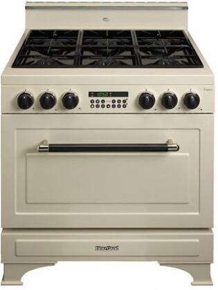 Heartland 363002NG  Dual Fuel Freestanding Range with Sealed Burner Cooktop, 5.9 cu. ft. Primary Oven Capacity, in White